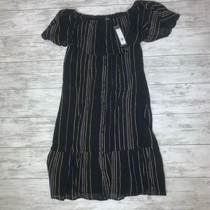 Michael Stars Black Striped Dress Size Small NWT
